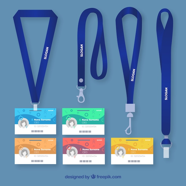 Flat id card with clasps and lanyards collection Free Vector