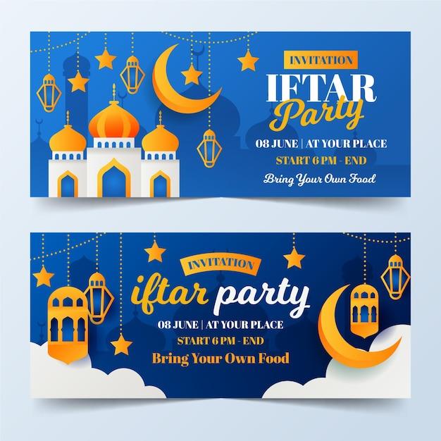 Набор плоских баннеров ифтара Бесплатные векторы