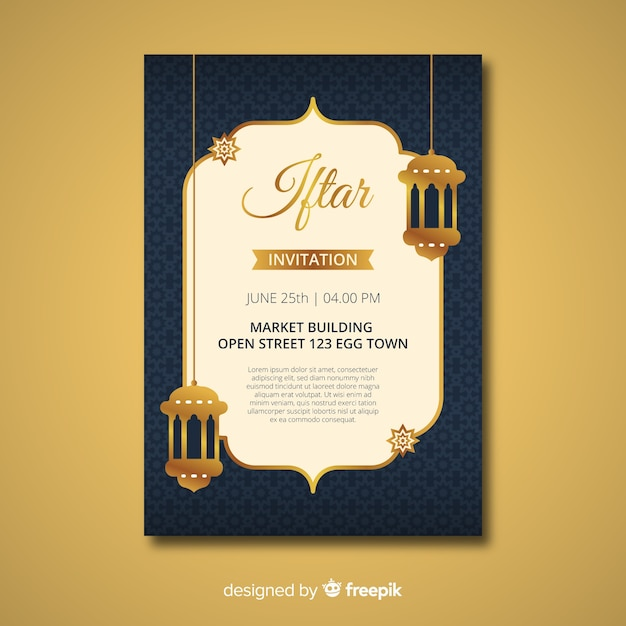 Flat iftar invitation Free Vector