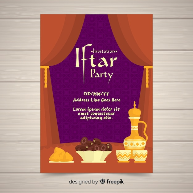 Flat iftar party invitation curtains Free Vector