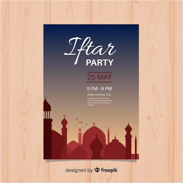 Flat iftar party invitation sunset Free Vector