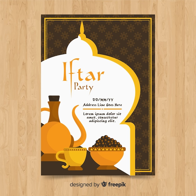 Flat iftar party invitation tea and food Free Vector