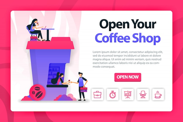 Flat illustration about opening coffee shop with one click. Premium Vector