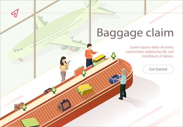 Flat illustration baggage claim collect luggage. Premium Vector