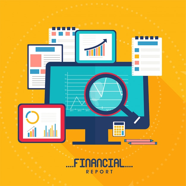 Flat illustration for business financial report with digital devices and paper documents. Free Vector