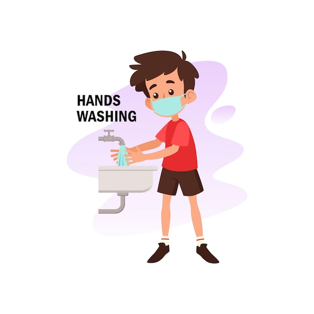 Flat illustration of character washing hand for prevention from corona virus Premium Vector