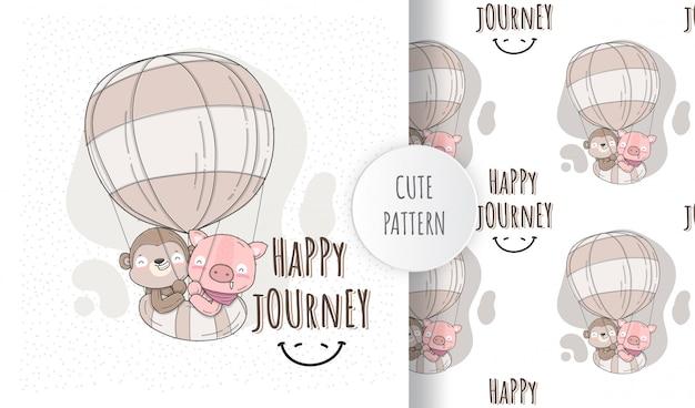 Плоские иллюстрации милые животные счастливого полета Premium векторы