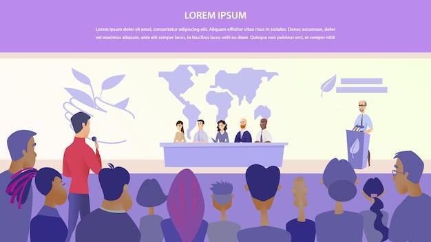 Flat illustration guy asks group speaker question Premium Vector