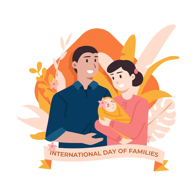 Flat illustration of international day of families Free Vector