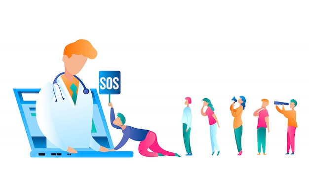 Flat illustration man urgently refer doctor online. vector image doctor in white medical gown performs reception patient using laptop. group people asks for medical care from specialist Premium Vector