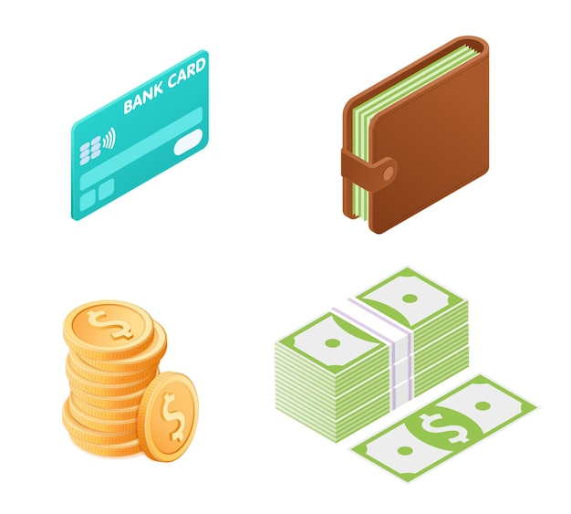 Flat illustration of money isometric set. Premium Vector