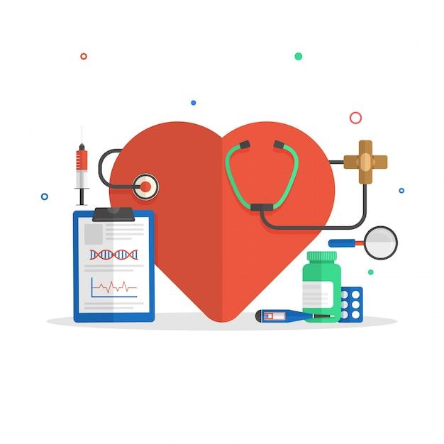 Плоские иллюстрации сердца со стетоскопом, рецепт площадку и лекарства для медицинской концепции. Бесплатные векторы