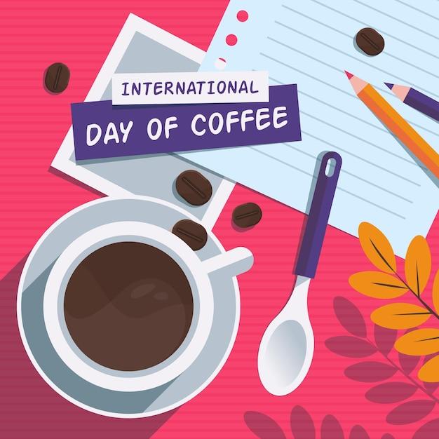 Плоская иллюстрация международного дня кофе Бесплатные векторы