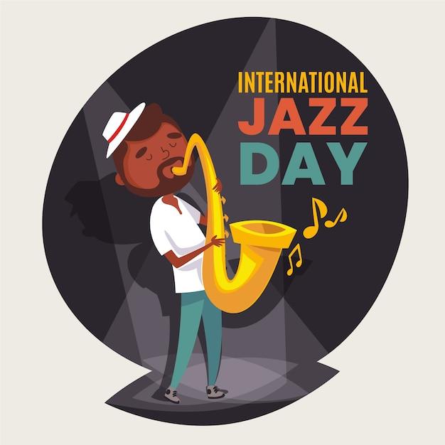 ミュージシャンと国際ジャズデーのフラットの図 無料ベクター