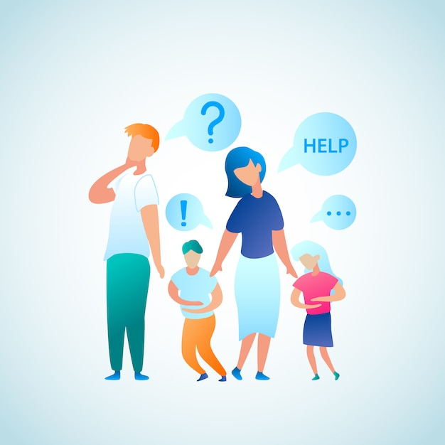Flat illustration parent appeal for help doctor Premium Vector