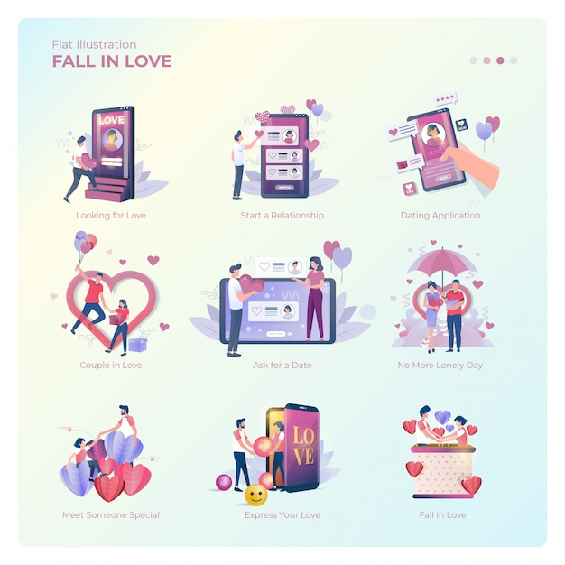 Flat illustration of people falling in love collection Premium Vector
