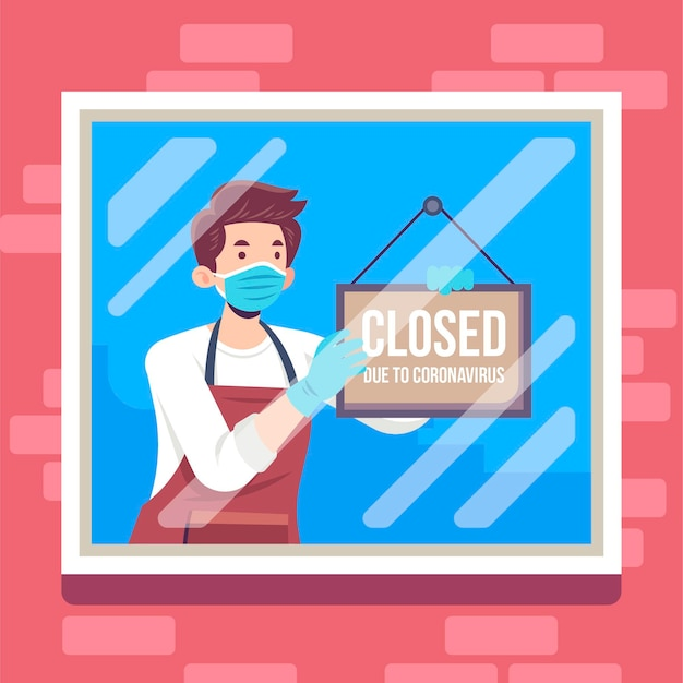 Flat illustration people hanging a closed signboard Premium Vector