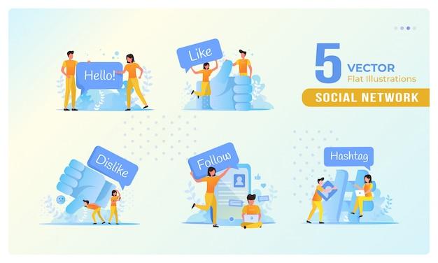 Flat illustration of people on social networks concept in a set Premium Vector