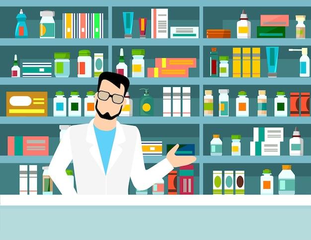 Плоская иллюстрация фармацевта у прилавка в аптеке напротив полок с лекарствами. концептуальный фон здравоохранения Premium векторы