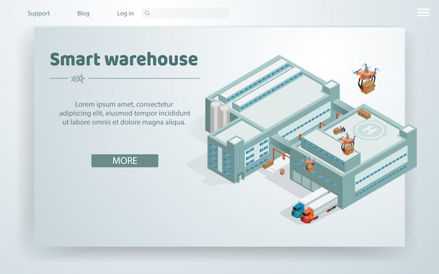 Flat illustration smart warehouse at huge building Premium Vector