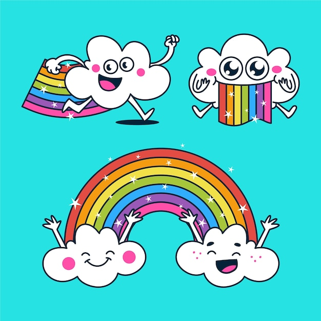 Flat illustration of smiley rainbow pack Free Vector
