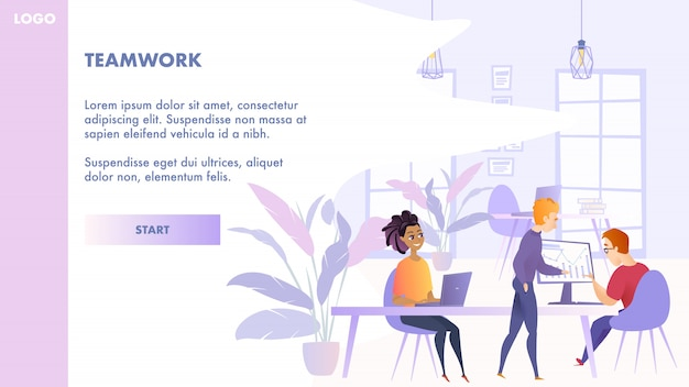 Flat illustration teamwork group people in office Premium Vector