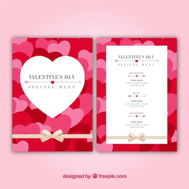 Flat illustration valentine\'s day menu