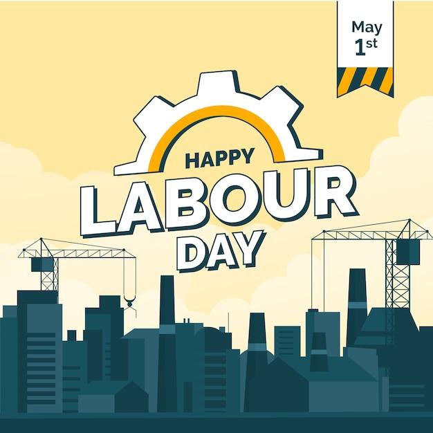 Плоский рисунок с городом на день труда Бесплатные векторы