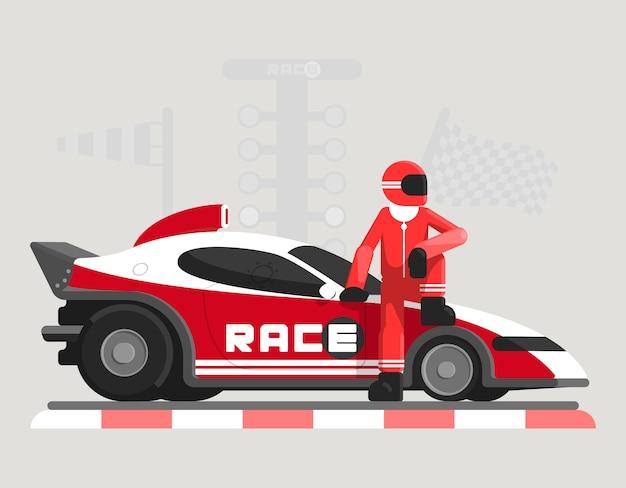 レースカーとレーサーとフラットの図 Premiumベクター