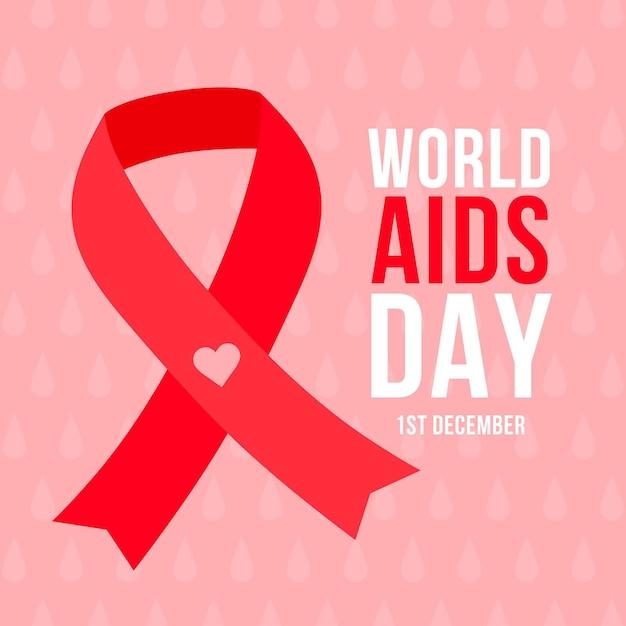 Flat illustration of world aids day ribbon Free Vector