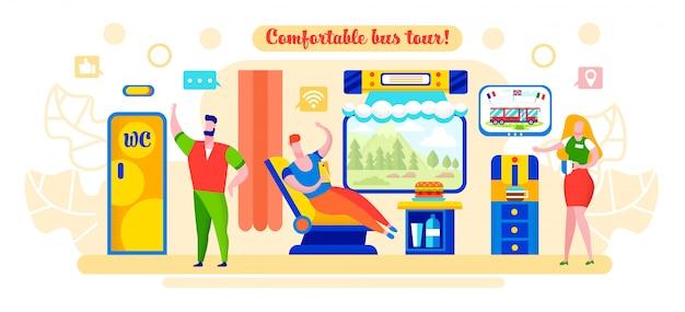 Flat illustration written comfortable bus tour. Premium Vector