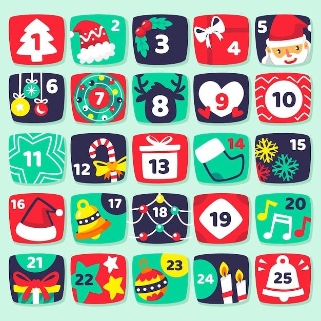 Flat illustrations advent calendar Free Vector