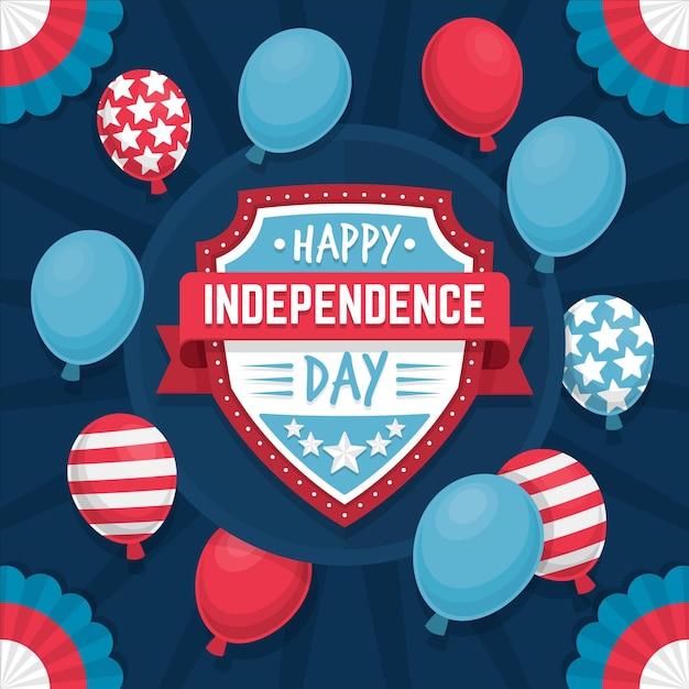 Giorno dell'indipendenza piatta 4 luglio con palloncini Vettore gratuito
