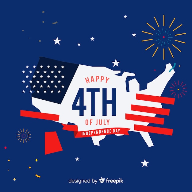 Flat independence day background Free Vector