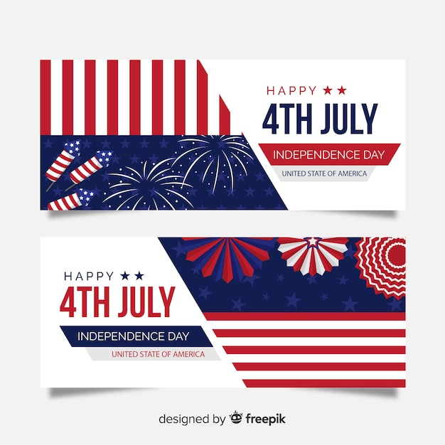 Flat independence day banners Free Vector