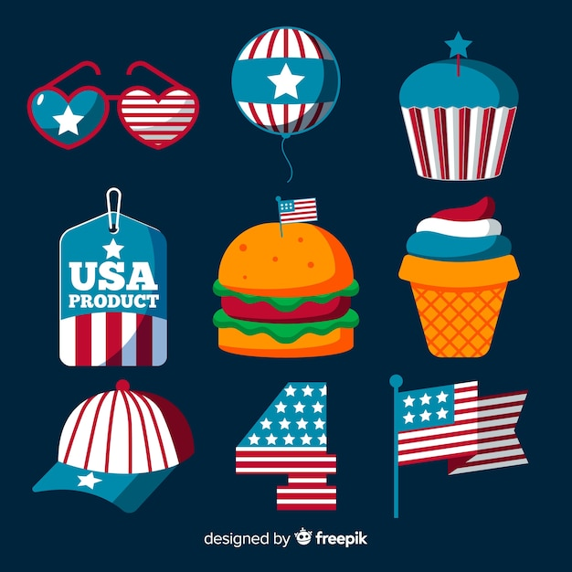 Flat independence day element collection Free Vector