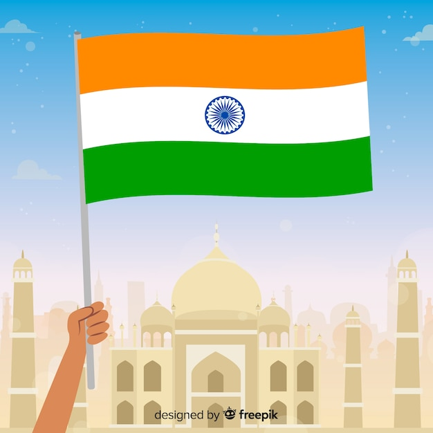 Flat india independence day background Free Vector