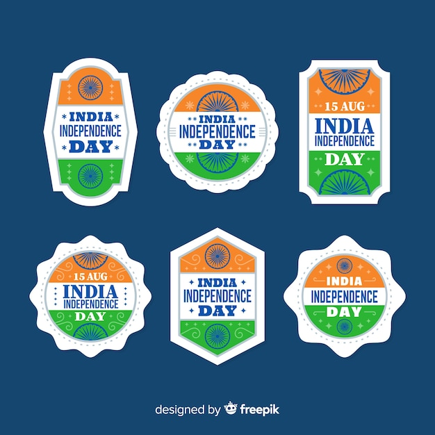 Flat india independence day badge collection Free Vector