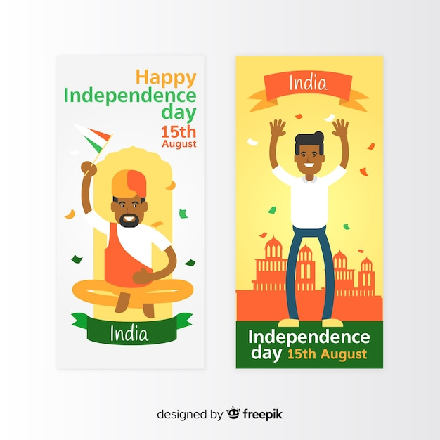 Flat india independence day banners Free Vector