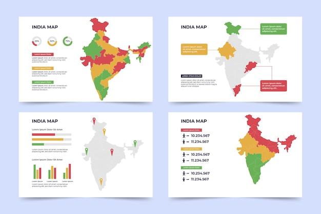 Плоская инфографика карта индии Бесплатные векторы