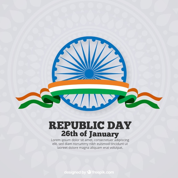 Flat india republic day background Free Vector