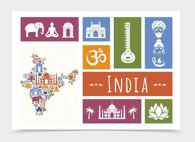 Плоская композиция путешествия индии Бесплатные векторы