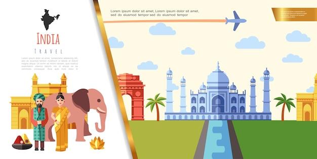 Плоская концепция путешествия индии Бесплатные векторы