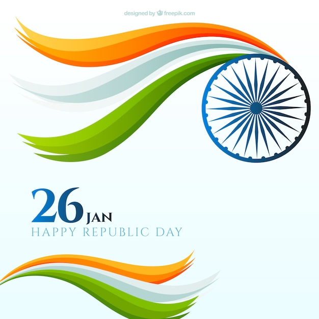Flat indian republic day background with wavy shapes Free Vector