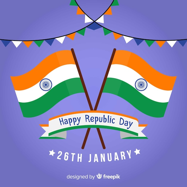 Flat indian republic day background Free Vector