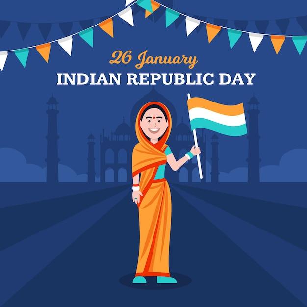 フラットインド共和国記念日のコンセプト 無料ベクター