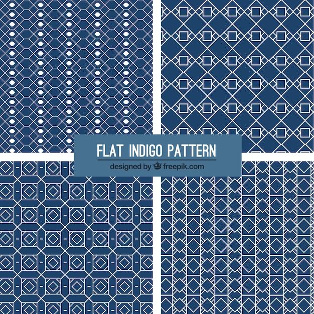 Flat indigo patterns Free Vector