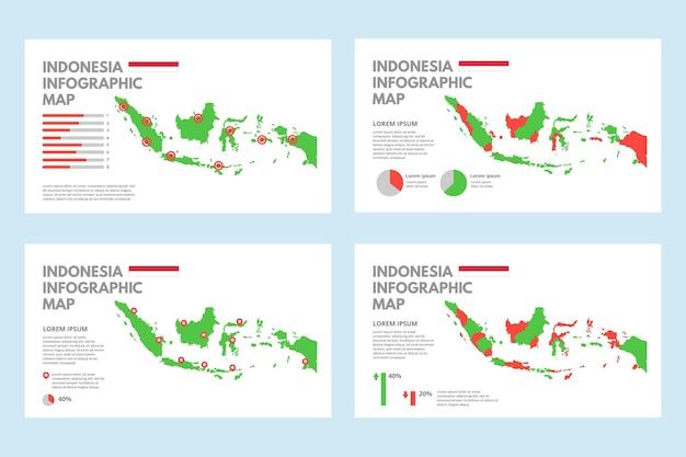 Плоская инфографика карта индонезии Бесплатные векторы