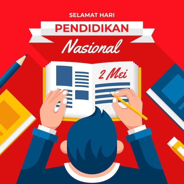 Flat indonesian national education day illustration Premium Vector