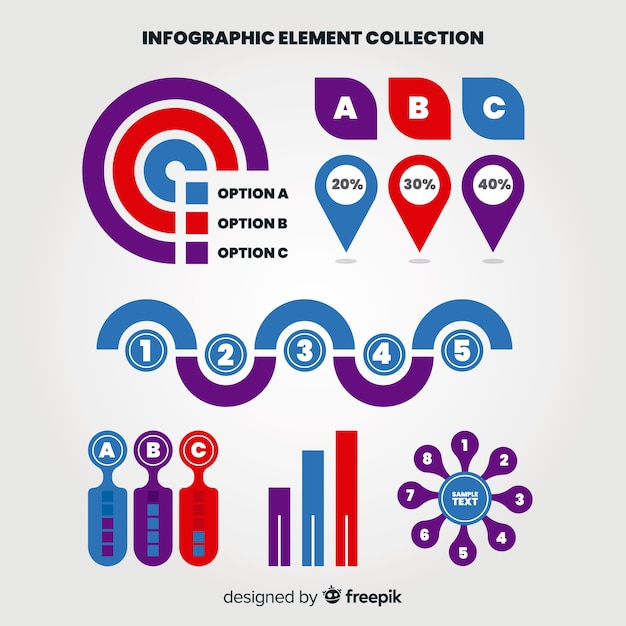 Flat infographic element collection Free Vector